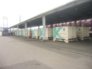 Photograph that containers which arrived at JR Shizuoka Kamotsu Station form a line