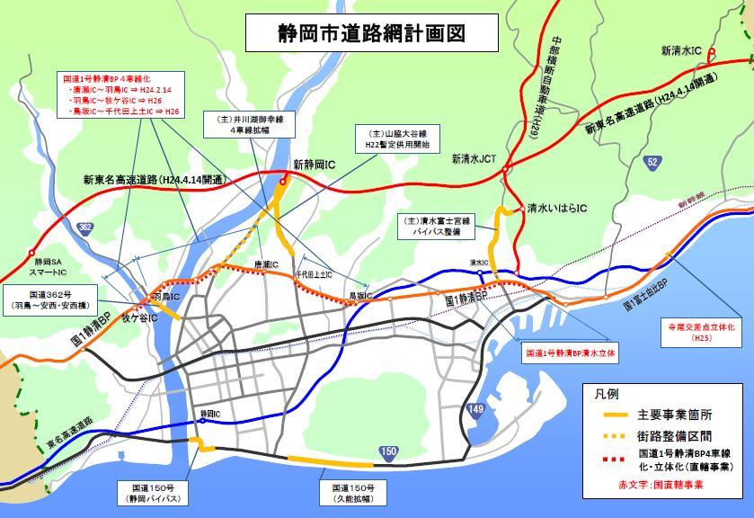 主な道路整備事業:静岡市