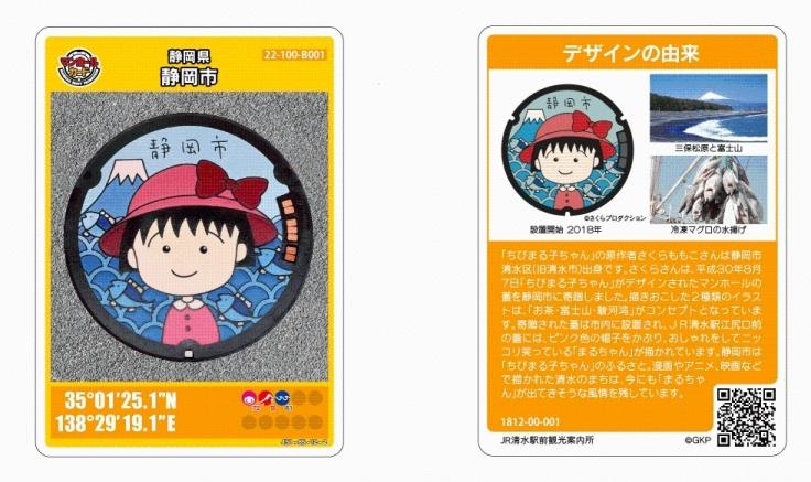 Image of manhole card of Chibi Maruko-chan design